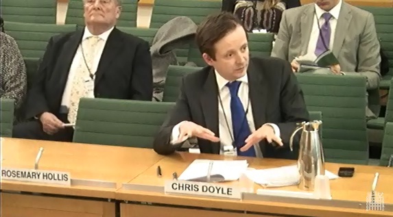 Chris Doyle in front of the Foreign Affairs Select Committee